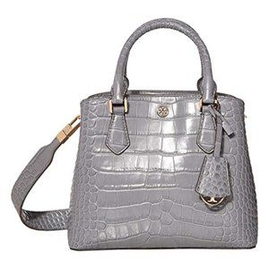 Tory Burch $498 Robinson Embossed Tote Zinc NWT